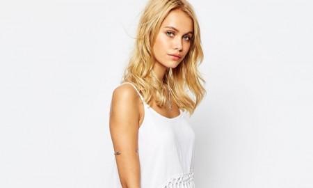 Bohoo White Fringed Cami Mini Dress