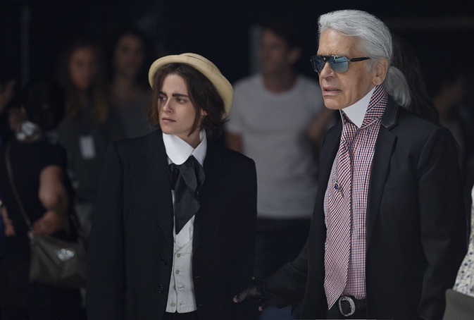 Kristen Stewart on set of Chanel Once and Forever film with Karl Lagerfeld