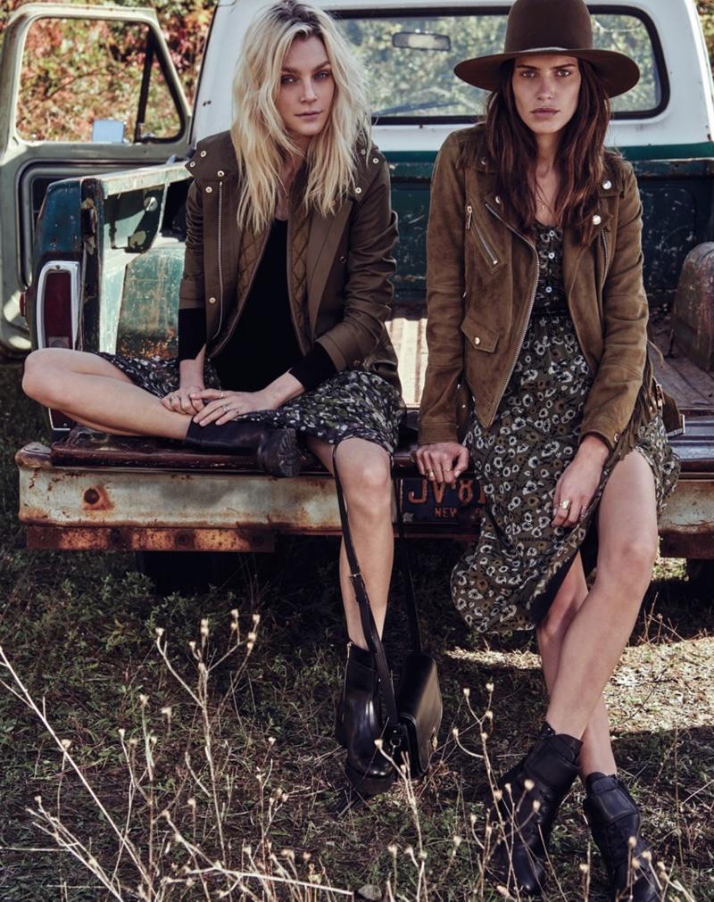Jessica Stam & Amanda Wellsh Wear Glam Country Style in W