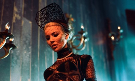 Daphne Guinness shows off her svelte figure in a black and sheer gown
