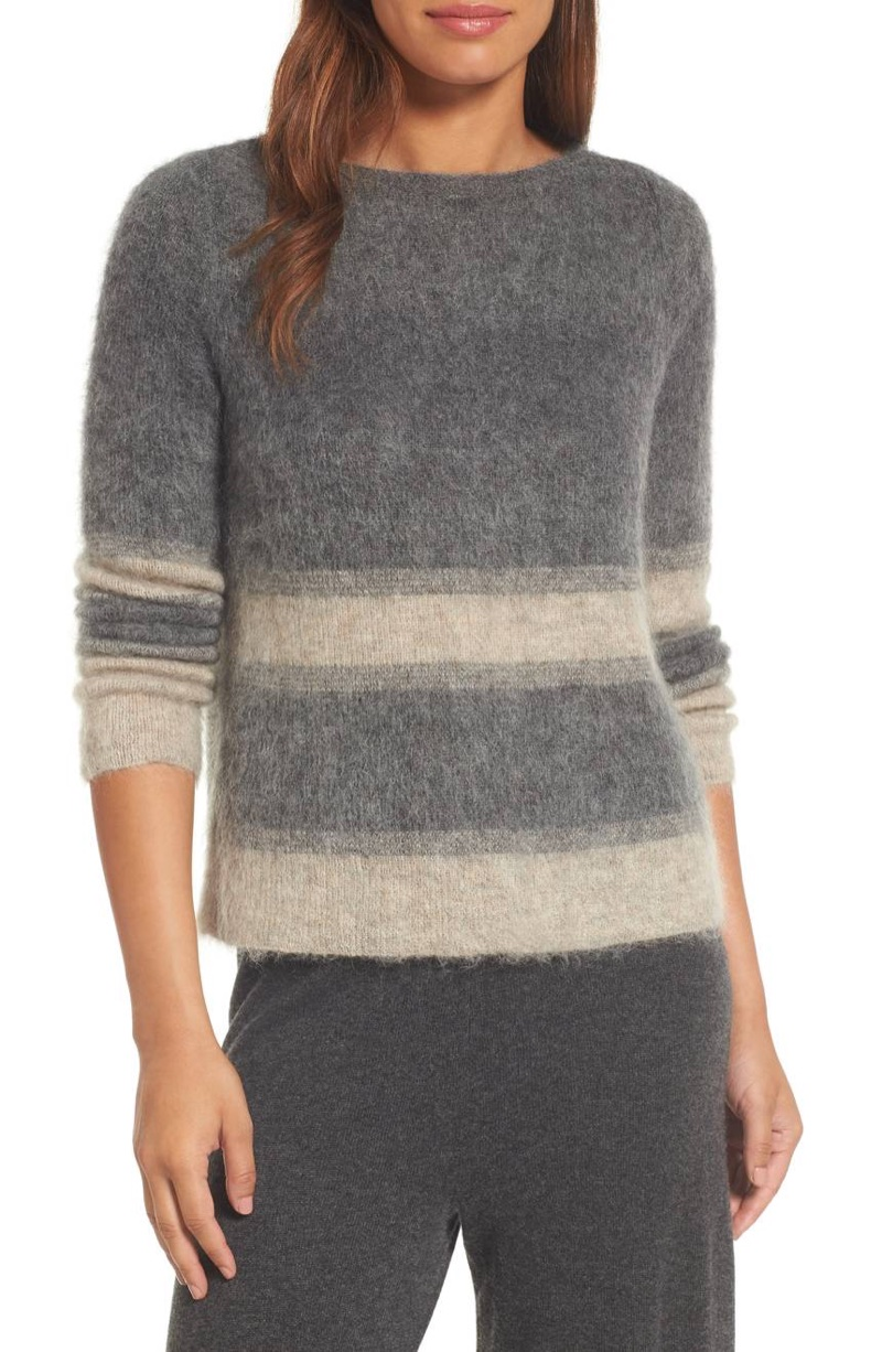 Eileen Fisher Stripe Mohair Alpaca Blend Bateau Neck Sweater $278