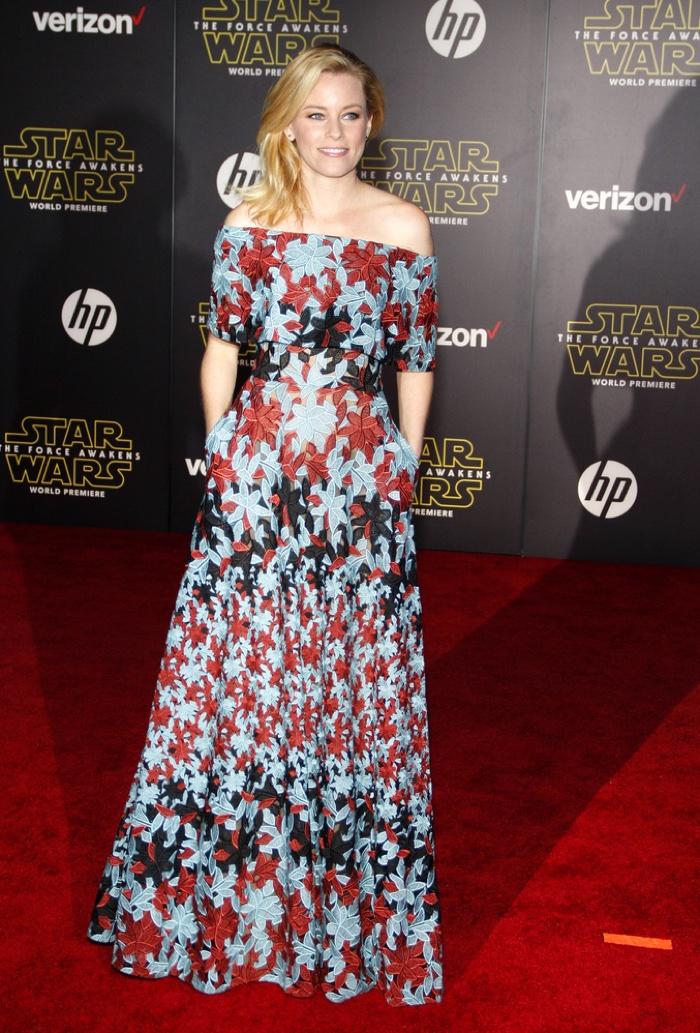 Elizabeth Banks wears printed Elie Saab gown. Photo: Tinseltown / Shutterstock.com