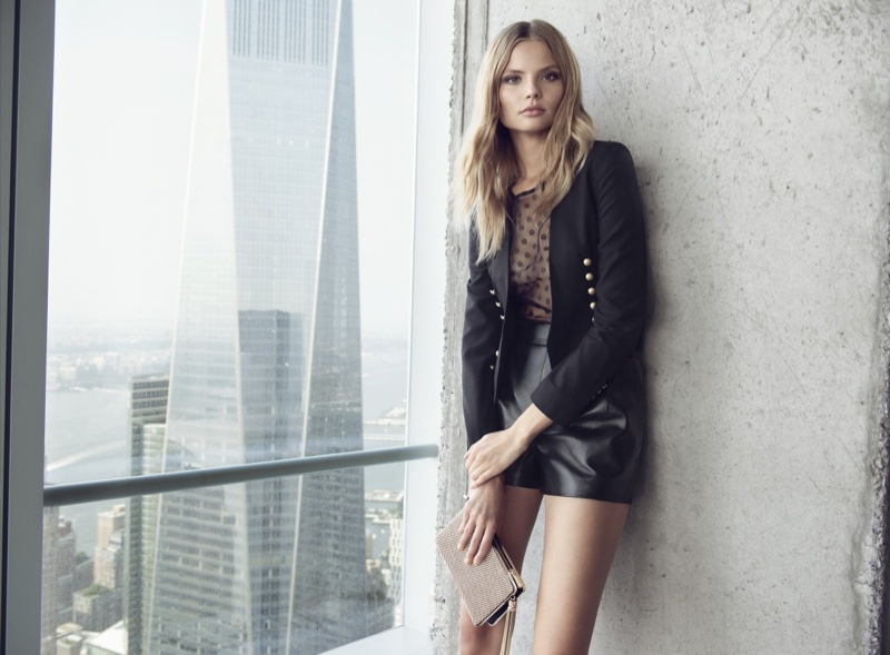 Express Limited Military Jacket, Black Mesh Polka Dot Top and Leather High Waist Shorts