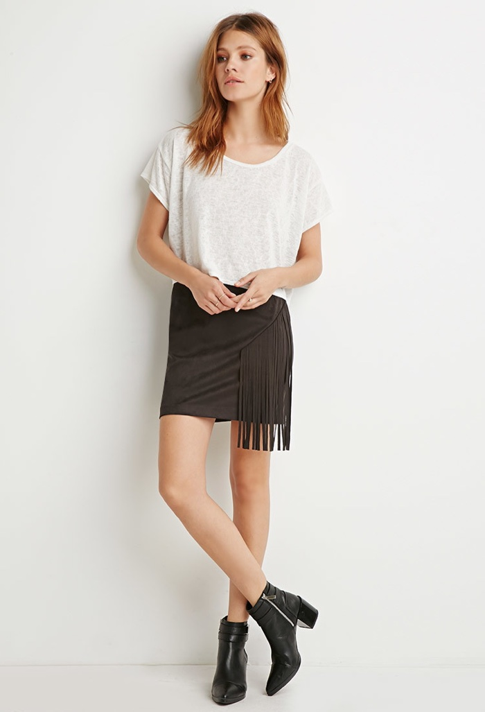 df9845d32 Forever 21 Faux Suede Black Mini Skirt with Fringe available for $19.90