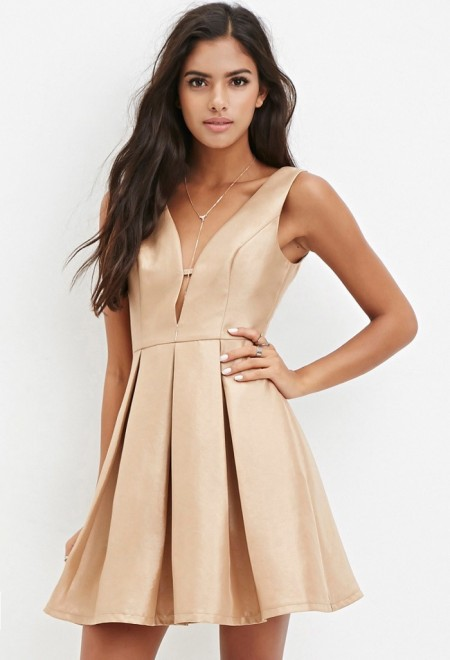 Forever 21 Pleated Fit & Flare Dress