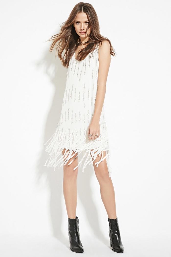 White Fringe Dresses Shop