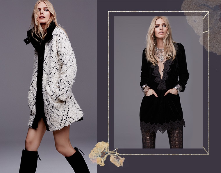 (L) Free People High Collar Bouclé Coat, Free People 'New Castle' Knee High Boot (R) Free People 'Dreams' Lace Trim Tunic Dress