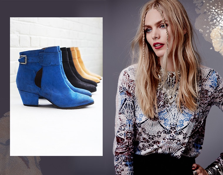 Free People 'Belleville' Ankle Bootie, Free People 'New World' Jersey Nouveau Top