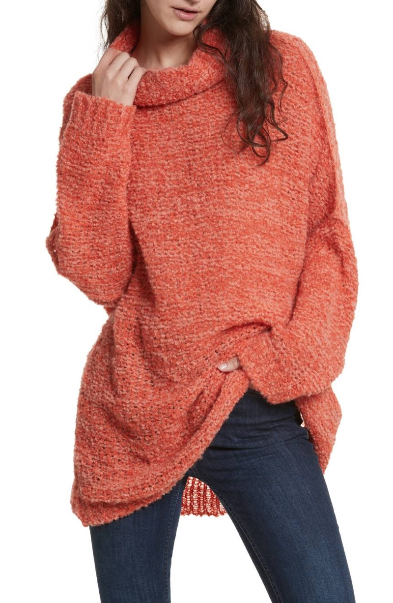 Free People She's All That Knit Fuzzy Turtleneck Sweater $128