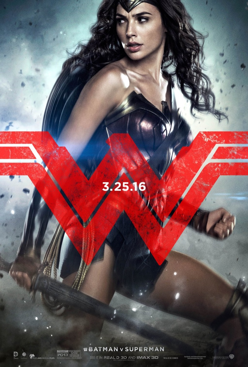 Gal Gadot as Wonder Woman on Batman v Superman poster
