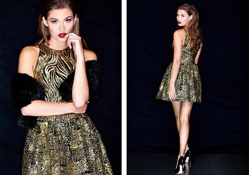 Guess Sadie Gold Sequins Dress