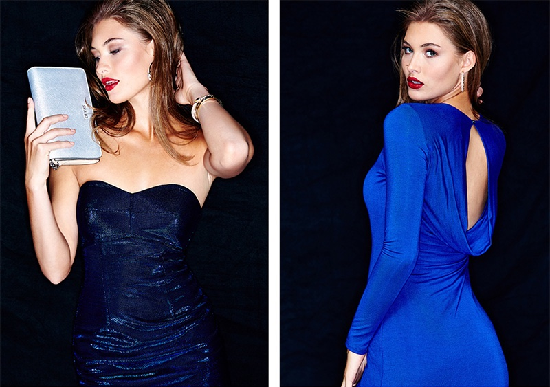 (Left) Guess Strapless Metallic Dress in Blue (Right) Guess Long Sleeve Asymmetric Maxi Dress in Blue