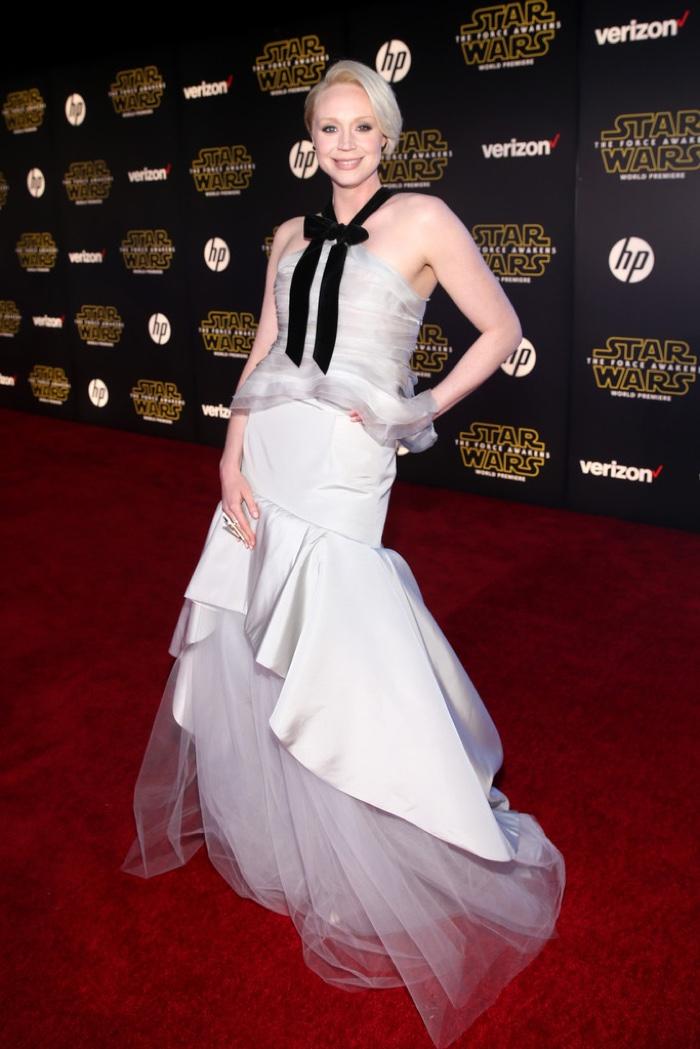 Gwendoline Christie wears dramatic Oscar de la Renta gown. Photo: Tinseltown / Shutterstock.com