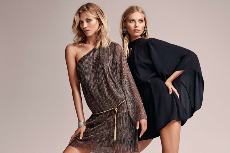 (Left) H&M Glittery One-Shoulder Dress (Right) H&M Kimono Sleeve Jumpsuit