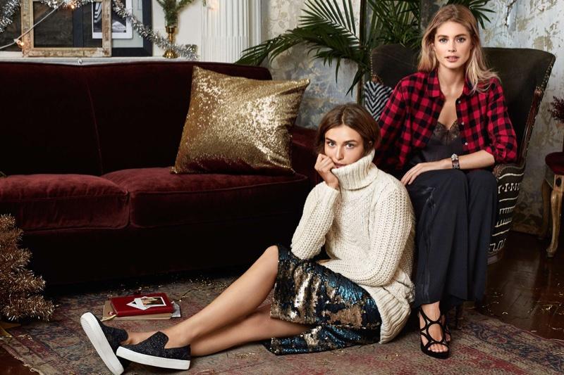 Andreea wears H&M Turtleneck Sweater, Sequined Skirt & Glittering Sneakers; Doutzen wears H&M Plaid Flannel Shirt, Wide Tuxedo Pants & Imitation Suede Sandals