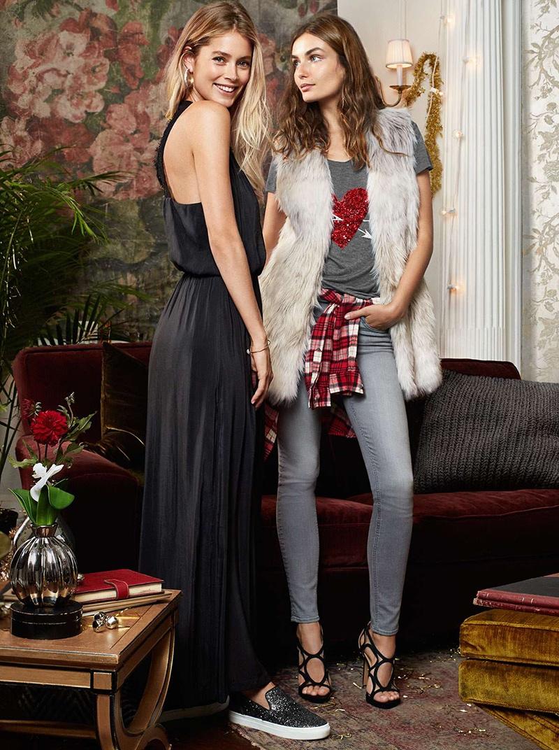 Doutzen wears Lace-Back Long Dress & Glittering Sandals, Andreea wears H&M Faux Fur Vest, Sequins Embellished Top, Slim-fit Pants & Imitation Suede Sandals