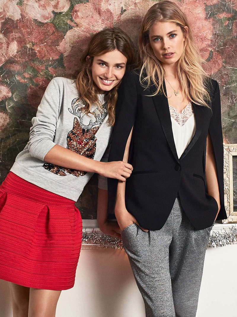 Andreea wears H&M Sequin Sweatshirt, Red Textured Skirt; Doutzen wears H&M Tuxedo Jacket, V-neck Camisole Top, Glittery Joggers