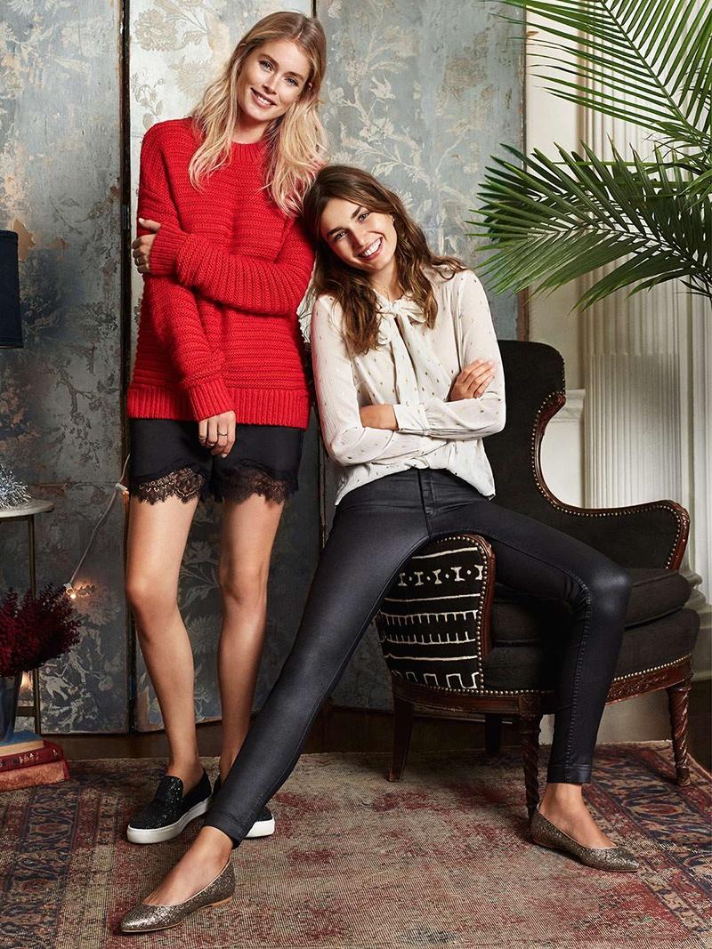 Doutzen wears H&M Red Knit Sweater, Satin Shorts & Glittery Sneakers; Andreea wears H&M Crinkled Chiffon Dress, Ankle-length Jeans & Glittery Ballet Flats