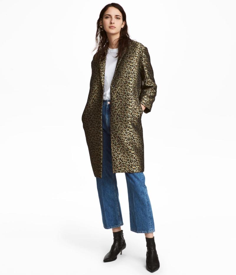 H&M Jacquard Weave Leopard Print Coat $69.99