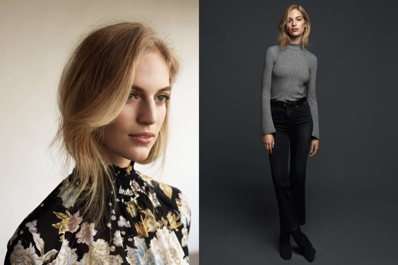 (Left) Floral Chiffon Blouse (Right) Ribbed Turtleneck Top, Cropped Flare High Jeans