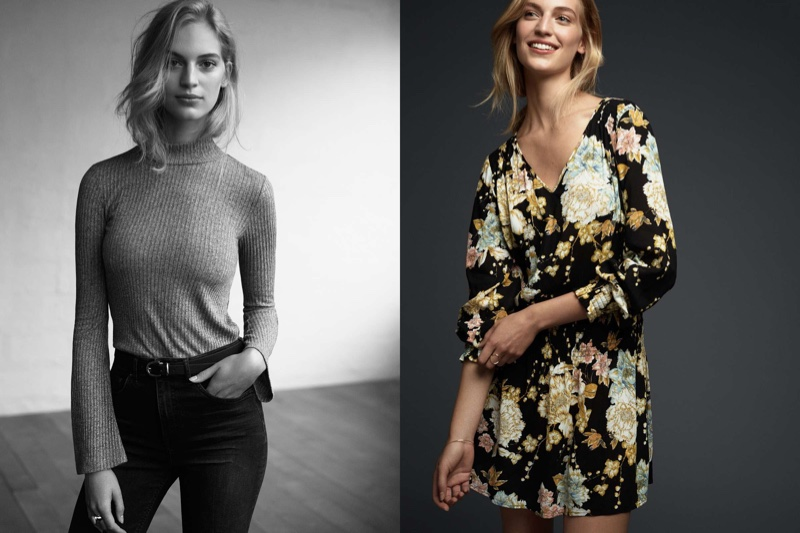 (Left) H&M Ribbed Turtleneck Top, H&M Cropped Flare High Jeans (Right) H&M Patterned Dress with Smocking