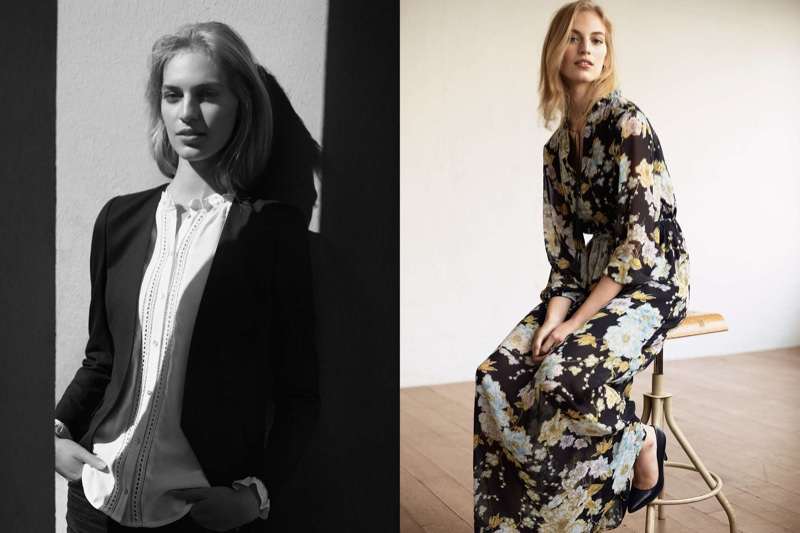 (Left) H&M Fitted Jacket, H&M Blouse with Lace Trim (Right) H&M Floral Chiffon Dress