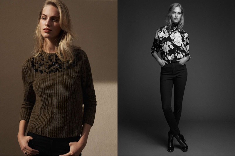 (Left) H&M Sequined Sweater (Right) H&M Floral Chiffon Blouse, Slim-fit Pants with High-Waist