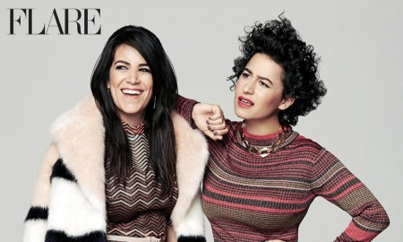 The actresses pose in retro inspired knitwear looks