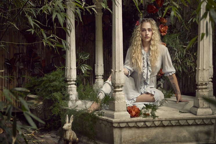 The actress poses in bohemian chic style for the shoot