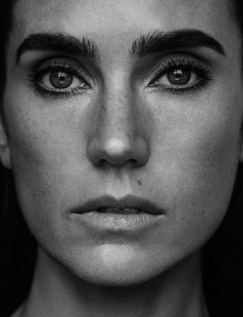 Jennifer Connelly stuns in a closeup black and white shot with a minimal makeup look