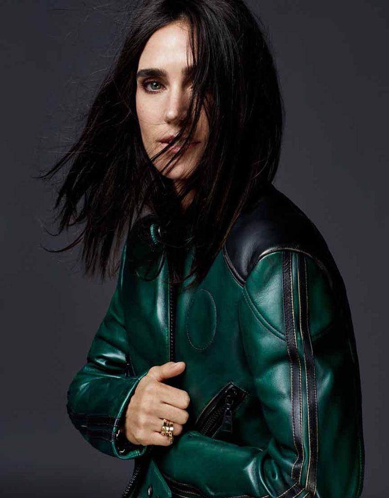 Jennifer sports a green moto jacket designed by Louis Vuitton