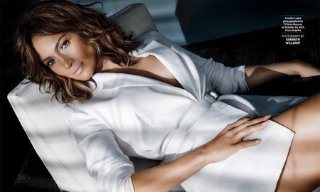 Jennifer Lopez looks sexy as she poses in a white jacket with no pants