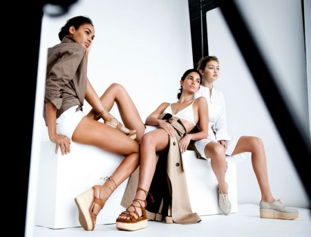 Joan Smalls, Lily Aldridge and Gigi Hadid behind the scenes on Stuart Weitzman's spring 2016 campaign