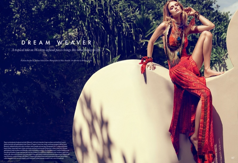 Kate Bock wears bohemian inspired looks photographed by Max Abadian for the spread