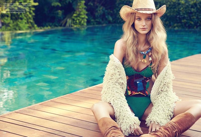 Kate Bock Models Boho Western Looks for ELLE Canada by Max Abadian