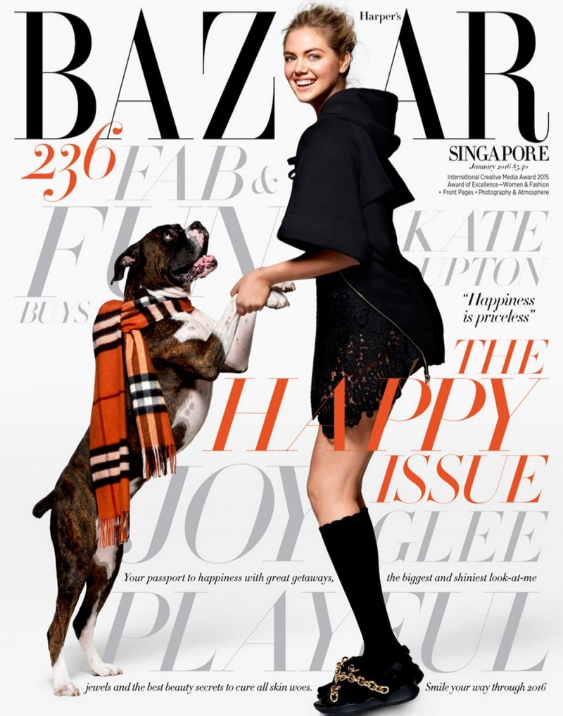 Kate Upton is All Smiles in Burberry for BAZAAR Singapore Cover Story