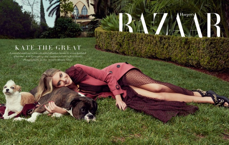Kate Upton wears Burberry looks in the feature