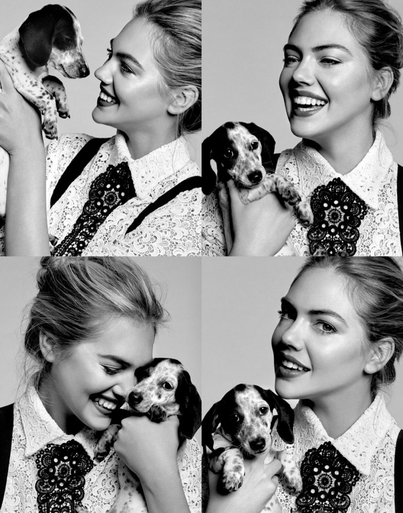 PUPPY LOVE: Kate Upton has a cute moment with an adorable pup in the shoot.