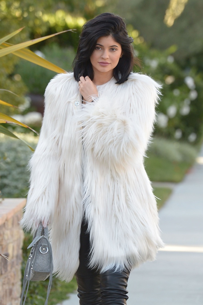 Kylie Jenner in Los Angeles, California, wearing a faux fur coat from Guess. Photo:  Stewart Cook / Star Traks