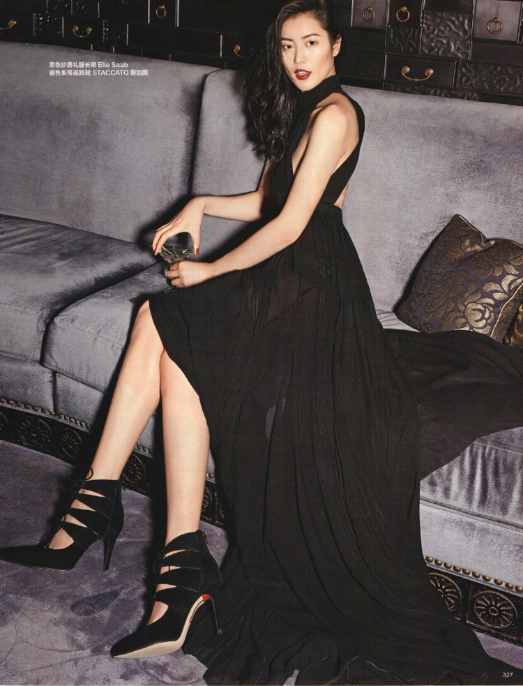 Liu Wen poses in black dress from Elie Saab