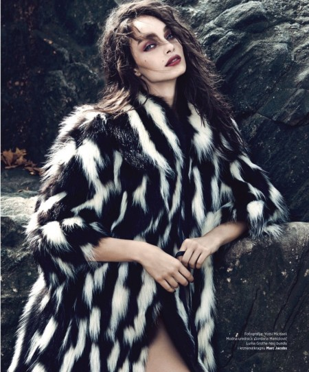 Luma Grothe Models Winter Fur in BAZAAR Serbia Cover Story