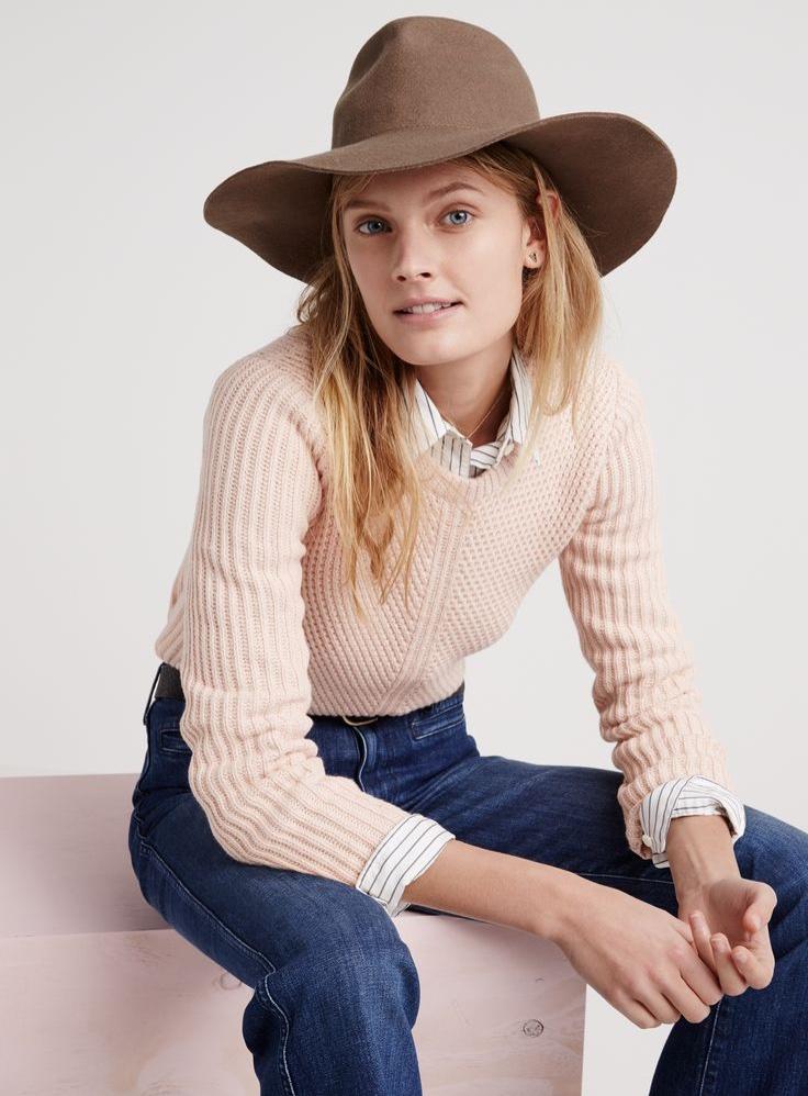 Madewell honeycomb sweater worn with the ex-boyfriend shirt, flea market flares and Madewell & Biltmore® straight-brim fedora