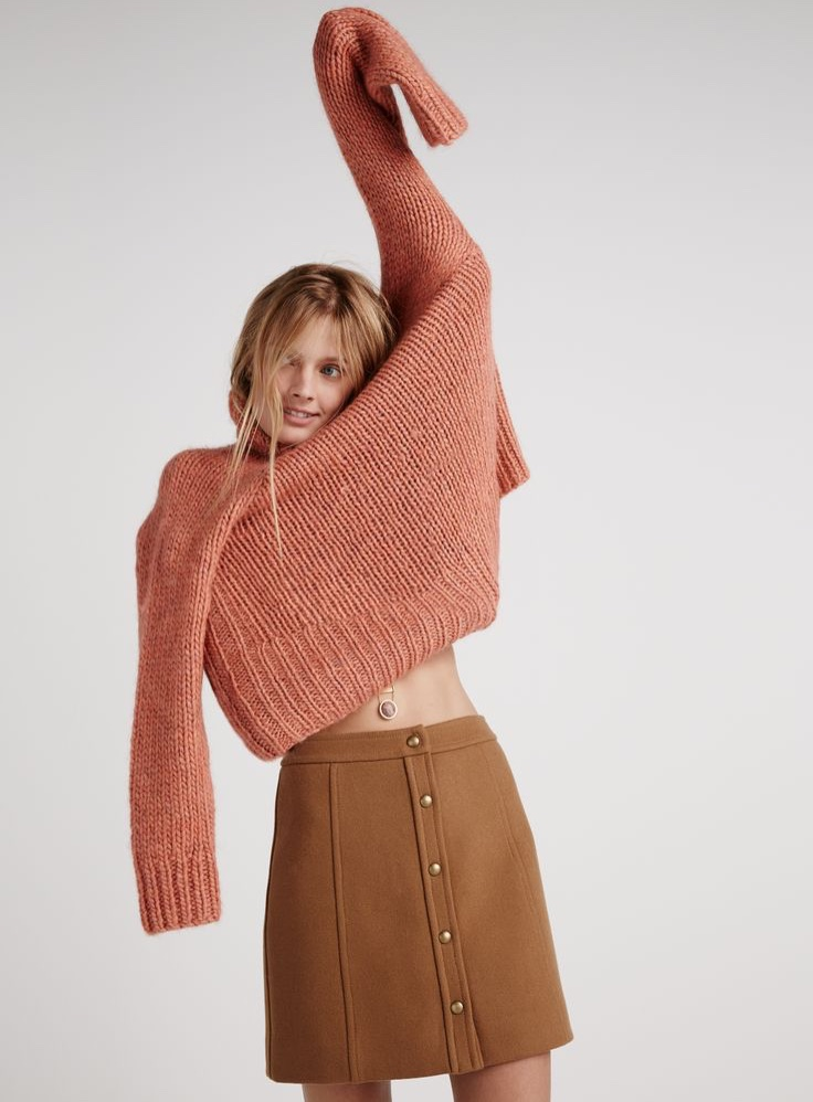 Madewell snap-front mini skirt and the Connection sweater.