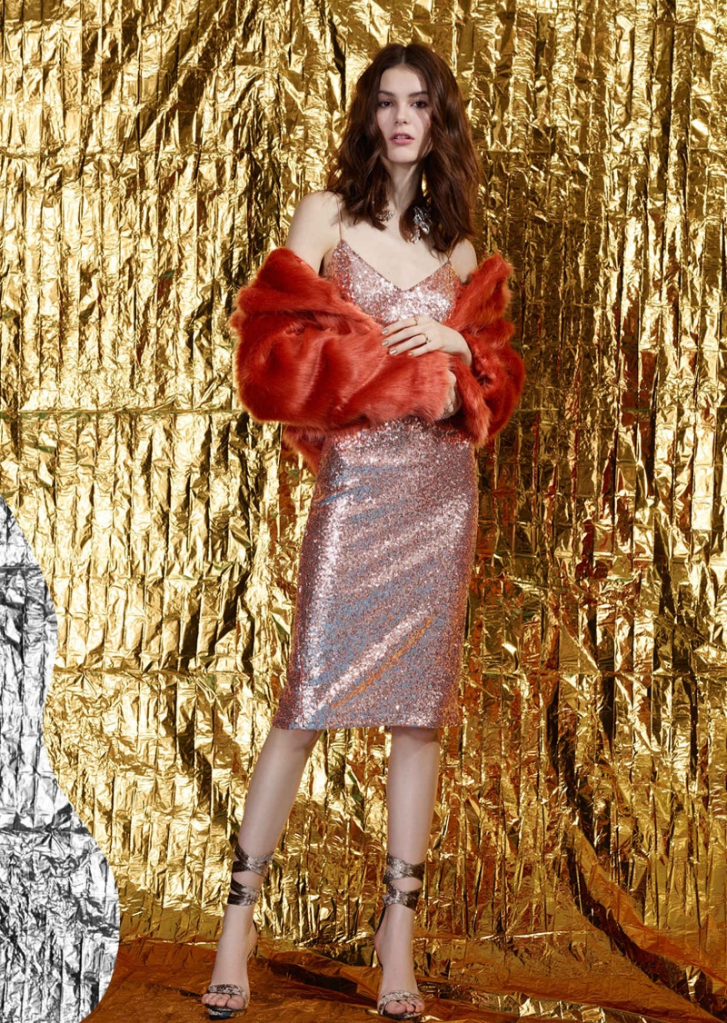 Nasty Gal May the Fur Be With You Jacket, Nasty Gal Gold Sweet Nothings Sequin Dress, Nasty Gal Velvet Rope Burn Heels