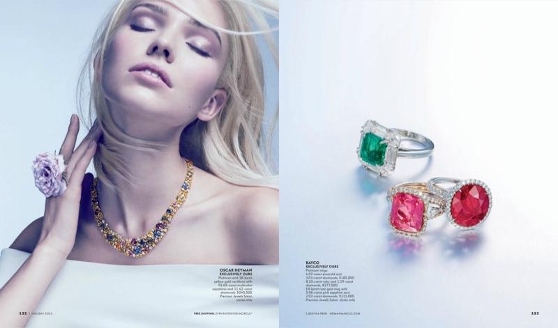 The model wears dazzling designer jewelry looks
