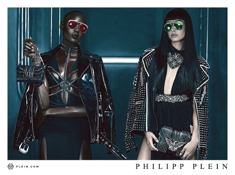 Ajak Deng and Hailey Baldwin wear punk looks in Philipp Plein's spring 2016 campaign