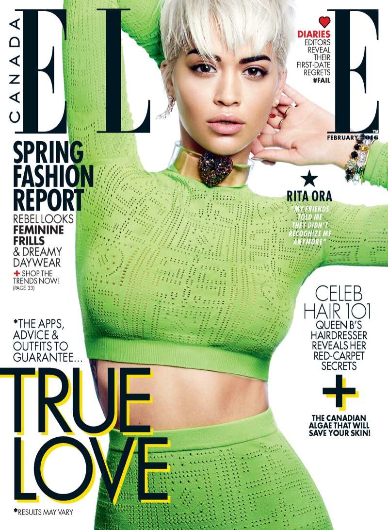 Rita Ora Shows Off Short Hairdo In ELLE Canada February 2016 Cover Story