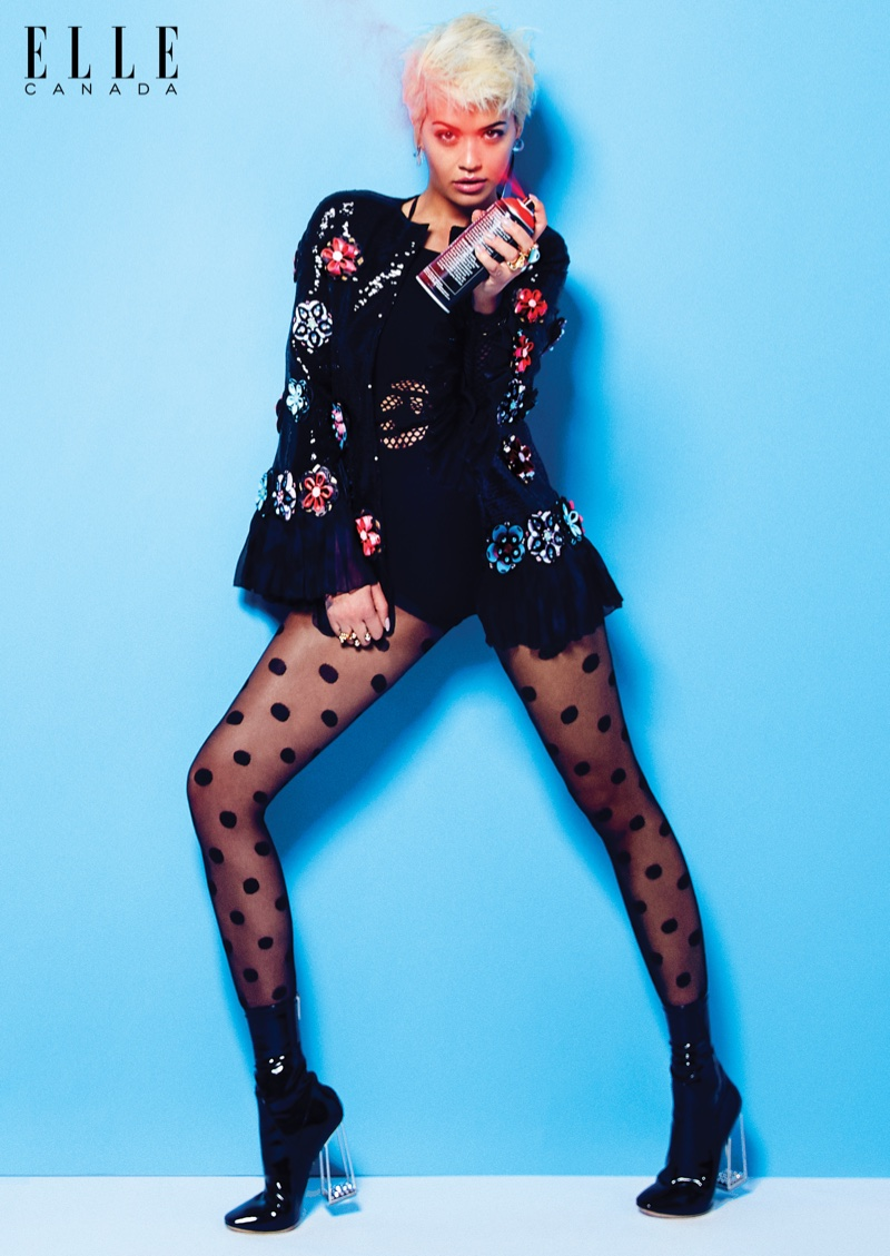 Rita Ora shows off her legs in sheer hosiery and ankle boot