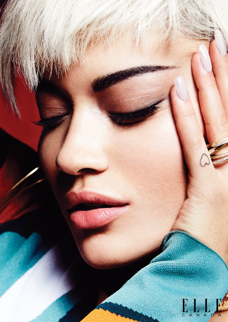 Rita looks gorgeous in a closeup shot featuring shimmering eyeshadow