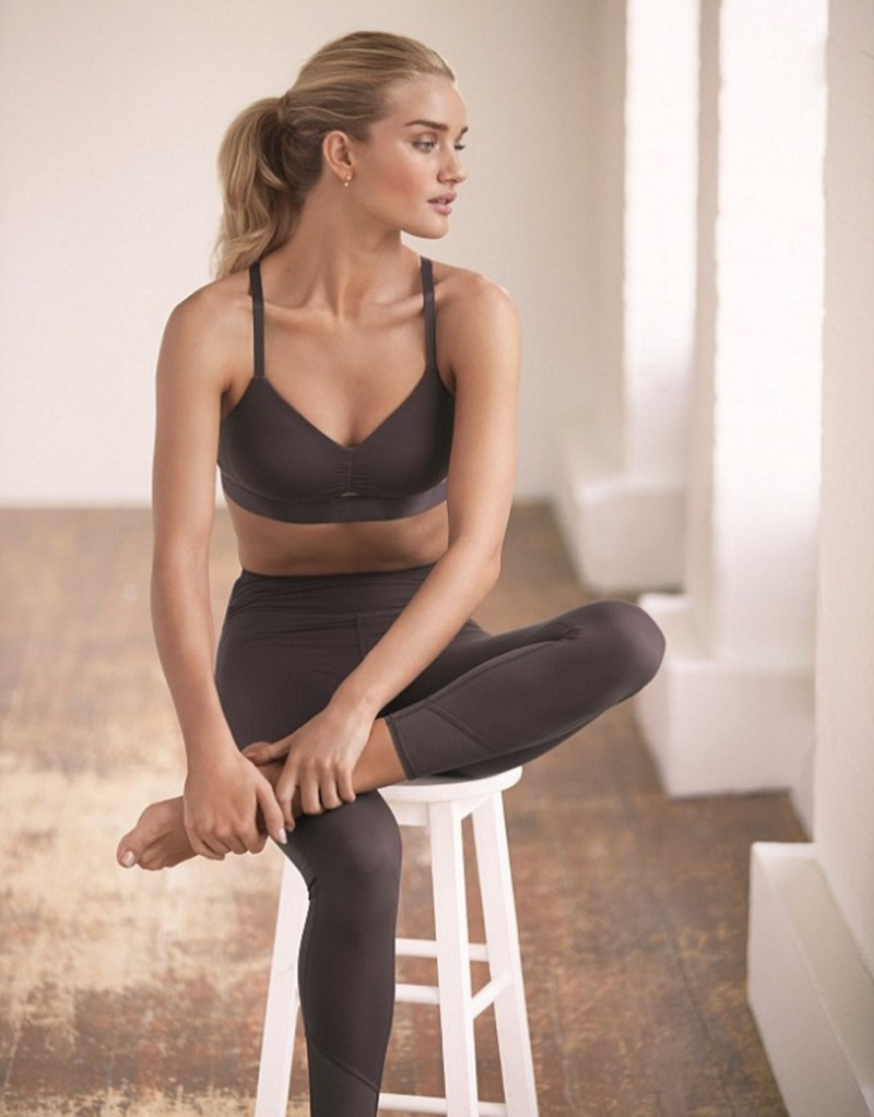 Rosie Huntington-Whiteley models workout clothing in the new shoot